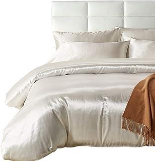 132693e7efed HOTNIU Full Satin Silk Duvet Cover Set with Zipper Closure - Quality Ultra  Soft Premium 3