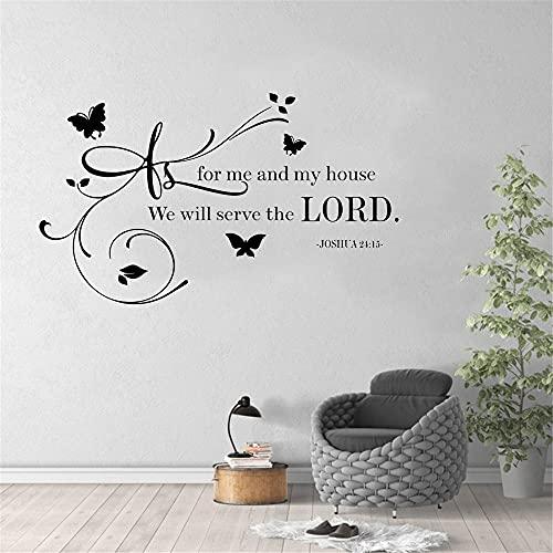 En cuanto a mí casa serviremos al Señor Josué 24 15 Cita Cristiana Biblia Dios Vinilo Etiqueta de la pared Calcomanía Dormitorio Sala de estar Decoración para el hogar Mural