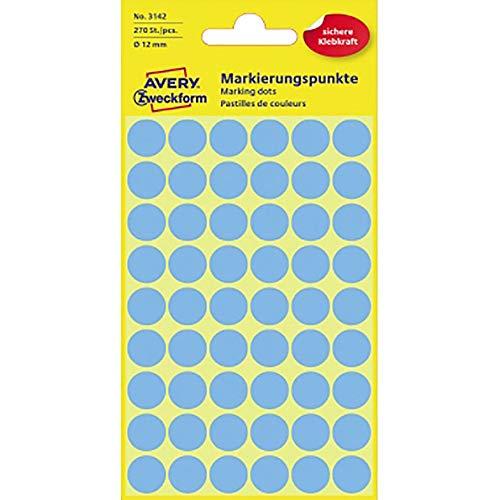 AVERY Zweckform 3142 Markierungspunkte, Durchmesser 12 mm, blau