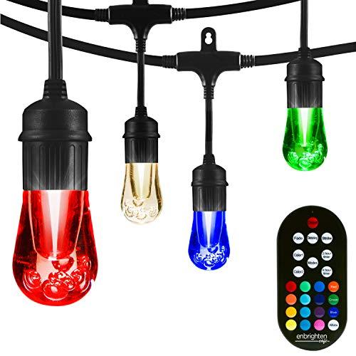 Enbrighten 37790, Black, Vintage Seasons LED Warm White & Color Changing Café String Lights, 48ft, 24 Premium Impact Resistant Lifetime Bulbs, Wireless, Weatherproof, Indoor/Outdoor, 48 Feet
