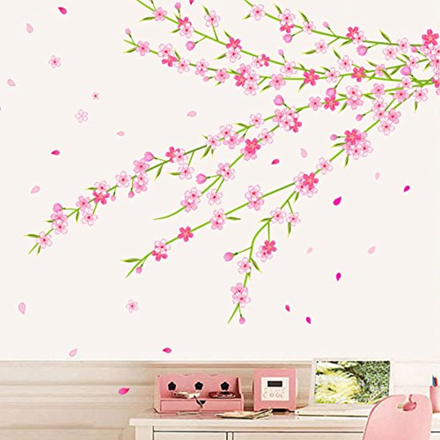 Znzbzt Wall Stickers Posters Peach Blossom Cherry Decals Container Walls are Decorated Living Room on The Wall Mount
