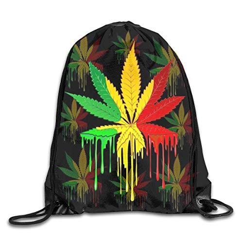 Etryrt Zaino con Coulisse,Borse Sacca,Sacchetto Leaf Rasta Colors Dripping Gym Sport Bag Drawstring Bag Backpack Draw Cord Bag for Men Women Gym,Sport,Yoga,Dance,Travel