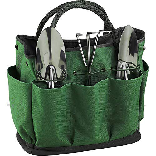 Vilihkc Garden Tote Gardening Tool Storage Bag/Garden Tool Bag with with 8 Pockets Oxford for Indoor Outdoor Garden Plant Tool Set Gardening Tools Organizer Tote Lawn Yard Bag Carrier
