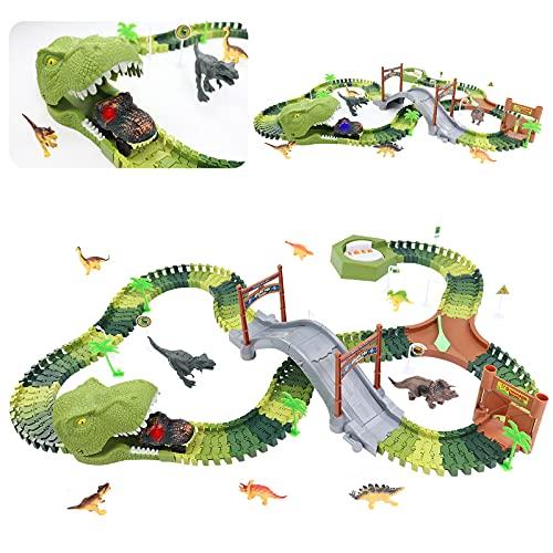 Circuito Coches de Dinosaurios Juguetes Incluyen 8 Dinosaurios, 1 Vehículo Eléctrico, Dinosaurios Jurassic World Pista de Carreras Regalo Juguetes Niños 3 4 5 6 años