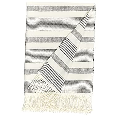 Stone & Beam Striped Throw Blanket, Soft and Easy Care, 80  x 60 , Fringed, Black