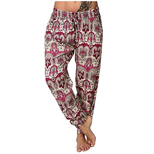 VODMXYGG Pantalones de Deporte para Mujer Suelto Entrenamiento de CháNdal Casuales Activos Tallas Grandes Pantalones Casuales con Estampado de Encaje Caseros de Yoga