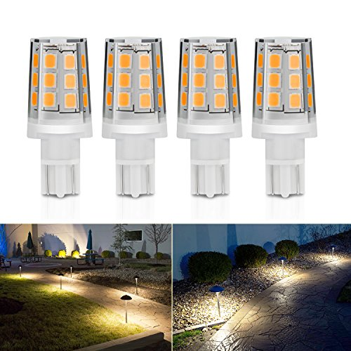 Kohree 2.5W LED Replacement Landscape Pathway Light Bulb 12V AC/DC Wedge Base T5 T10 for Malibu Paradise Moonrays and more (4 Pack, 3000K, Warm White/Soft White)