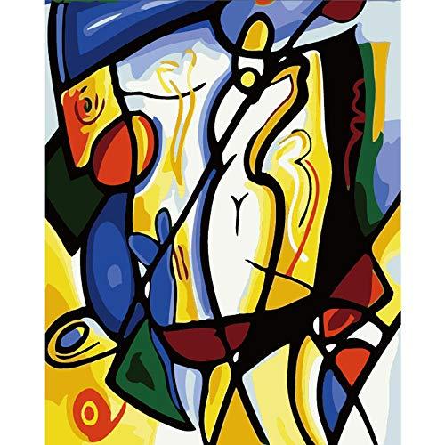 UJIFKAG Pintar por Numeros Adultos Niños DIY Pintura por Números con Pinceles Y Pinturasimpresionismodecoraciones para El Hogar 16 * 20 Pulgadas, Sin Marco