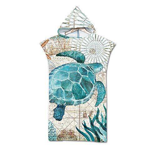 Treer Poncho Asciugamano con Cappuccio, Adulto Spiaggia Robe Cambiarsi Microfibra Assorbente Telo da Bagno Asciugatura Rapida Copricostume Accappatoio per Mare Surf (75x110cm,Tartaruga di Mare)
