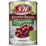 S & W • Canned Organic Kidney Beans (12 Pack), Vegan, Non-GMO, Natural Gluten-Free Bean, Sourced and Packaged in the USA, 15 Ounce Can