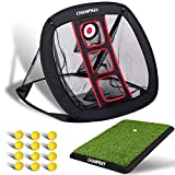 Champkey PRO Golf Chipping Net | Collapsible Golf Target Chipping nets | Come with Rubber Backing Golf Hitting Mat and 12 Foam Balls