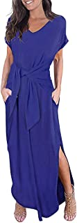 AMhomely Summer Dresses for Women Loose Dress Short Sleeve Round Neck Wrap with Belt Split Maxi Dress Women s Solid Color Strap Dress Prom Dresses Party Elegant Maxi Dresses