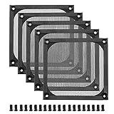 5 piezas PC ordenador 120mm ventilador filtro parrilla conjunto con tornillos M5 refrigeración a prueba de polvo ventilación lavable acero inoxidable negro