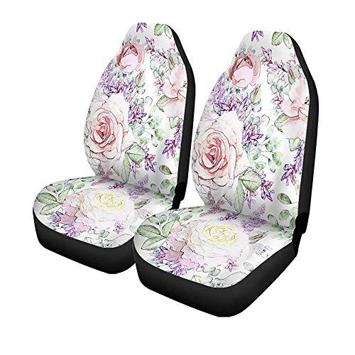 Set van 2 autostoelhoezen roze bloemen en bladeren op aquarel bloemenpatroon Rose Universal auto voorstoelen protector 14-17IN