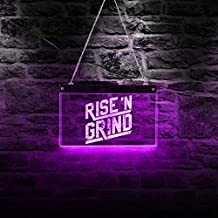 The Geeky Days Custom Rise and Grind Custom LED Neon Sign Personalised Inspirational Quote Lighting Lamp Wall Art Workout Fitness Gym Coffee Bar Light
