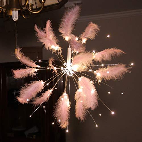 Watopi - Luces románticas de plumas para colgar en interiores con mando a distancia, iluminación de estado de ánimo, color rosa brillante, ambiental, para bodas, fiestas, salas de porposición