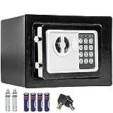 TecTake - Caja fuerte de pared, numérica, digital electrónica, 17x 23x 17cm + 4x pilas AA