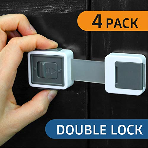 New Version Child Safety Locks 4-Pack. Baby Proof Cabinets, Drawers with Easy Adjustable Strap Length, Double Lock Option, Easier Latch for Adults to Open. Secure Oven, Refrigerator, Toilet, Doors
