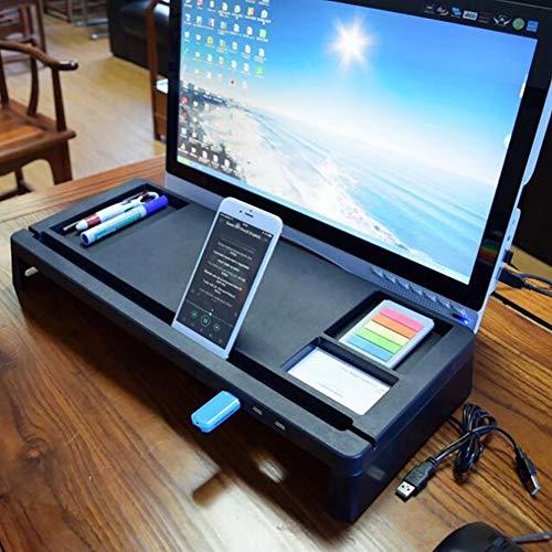 Elevador de monitor de escritorio con 4 puertos de carga USB   Soporte con smartphone elevado  Organizador de escritorio de almacenamiento para teclado