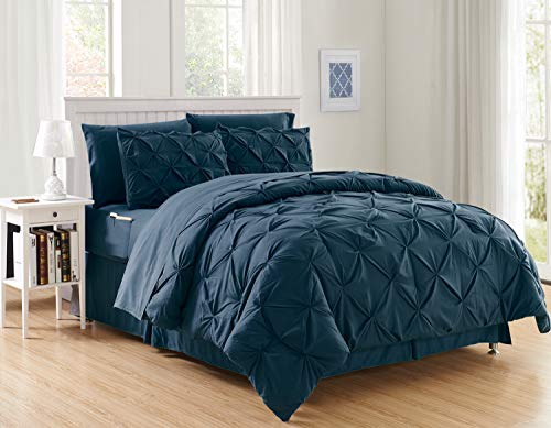 Elegant Comfort Luxury Best, Softest, Coziest 8-Piece Bed-in-a-Bag Comforter Set on Amazon Silky Soft Complete Set Includes Bed Sheet Set with Double Sided Storage Pockets, King/Cal King, Navy
