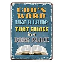 暗い場所に輝くランプのような神の言葉は、ビンテージプラークウォール装飾を言って金属記号