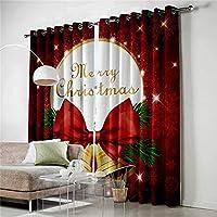 """遮光カーテンの寝室 遮光カーテンプリント熱絶縁鉛筆プリーツカーテン用寝室 - クリスマスベルズ - 赤86""""W x 84.6"""" H、温度とノイズの調整、2つのパネル アイレット遮光窓カーテン (Size : 72x84 inch)"""