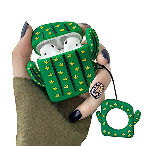 Skoveph Super Cute Cactus Airpods Case, 3D Cartoon Soft Silicone Protective Mini Bag Cute Creative Airpods 1 & 2 Stand Cover with Finger Loop … (Cactus)