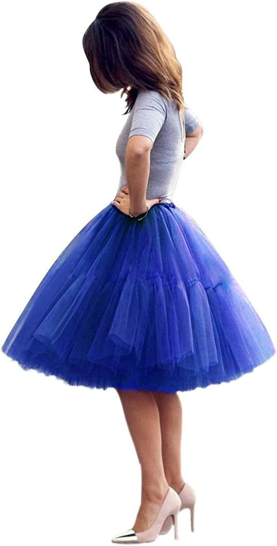 Women Knee/Tea Length 5-Layered Tulle A-line Tutu Party Prom Skirt TU01