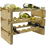 Sorbus Stackable Bamboo Wine Rack — Classic Style Wine Racks for Bottles — Perfect for Bar, Wine Cellar, Basement, Cabinet, Pantry, etc. (3-Tier)