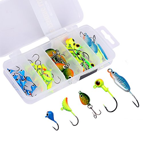 Goture Ice Fishing Jigs with Treble Hook Single...