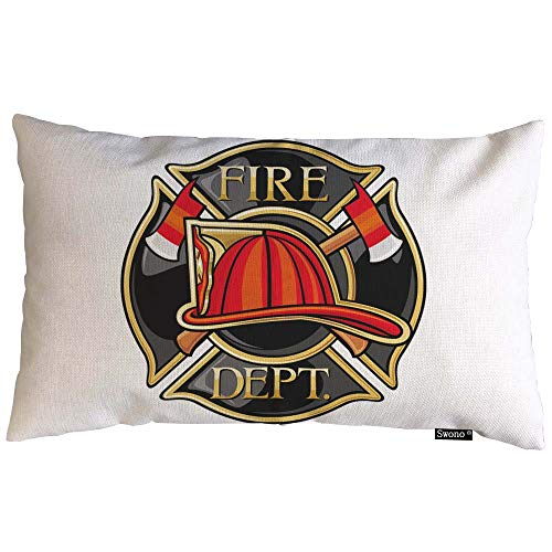 """Swono Firefighters Throw Pillow Cover Firefighters Maltese Cross Symbol Cotton Linen Decorative Rectangular Pillowcase for Sofa and Bed Couch 12""""X20"""""""
