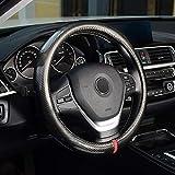 ZHOL Universal 15 inch Carbon Fibre Auto Car Steering Wheel Cover, Sports Appearance Design,Breathable, Non-Slip, wear-resistan, Black