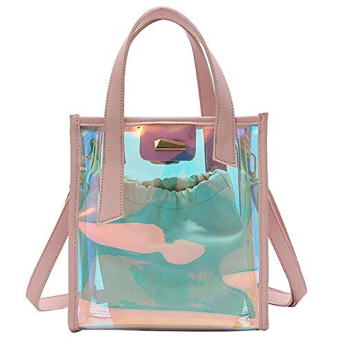 Cikuso NUOVO Borsa secchiello donna Borsa a tracolla in PVC Ologramma Borsa a mano Jelly Transparent Totes, rosa