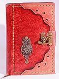 Kladde Journal en cuir ligné avec couverture en cuir Motif chouette...