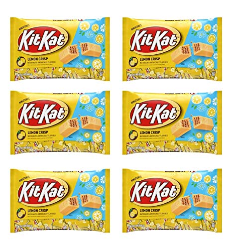 Kit Kat Lemon Crisp Miniatures Limited Edition Candy - Pack of 6 Bags - 9 oz Per Bag - 54 oz Total of Bulk Individually Wrapped Lemon Crisp KitKat Bars - Crisp Wafers in Lemon Flavored White Creme