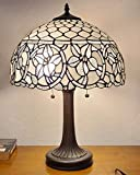 Amora Lighting Tiffany Style Table Lamp Banker 24' Tall Stained Glass White Mahogany Elegant Vintage Antique Light Décor Nightstand Living Room Bedroom Handmade Gift AM273TL16B