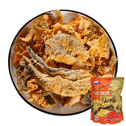酥脆魚皮(辣鹹蛋黄味)【2点セット】クリスピーフィッシュスキンスパイシーエッグヨーク おやつ
