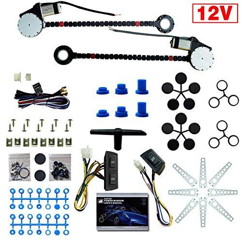Universal 12V Kit de Conversi/ón de Regulador de Elevaci/ón de Ventana El/éctrica para Autom/óvil para SUV de Cami/ón de 2 Puertas Zerone Kit Elevalunas Electrico