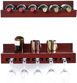 WZBワインラック6本のヨーロッパの純木のワイン・ボトルのホールダーのワイン貯蔵の棚の世帯逆さまのゴブレットの棚の壁に取り付けられた2部分の組合せ(色:B)