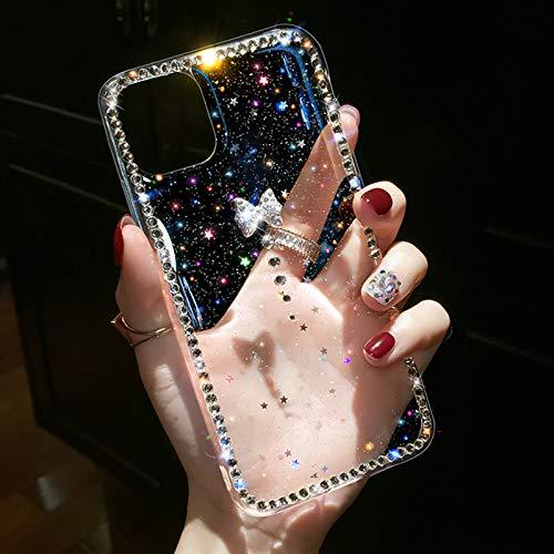 OcaseQ Funda para iPhone 12/12 Pro/12 Pro MAX Carcasa Transparente con Brillo 3D Bowknot Bumper de Diamantes Antigolpe de TPU Suave de Lujo Ultrafina Brillante Bling Back Cover,Clear,12 Pro MAX