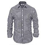 Casual Business Oktoberfest Grid Checkered Dress Shirts for Men Slim Fit M Navy Plaid