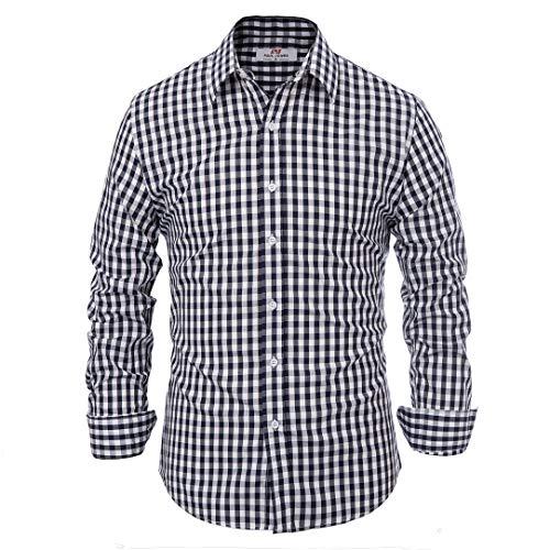 Men's Slim Dress Shirt Wrinkle Free Navy Plaid (XL) KL-1 CL6299