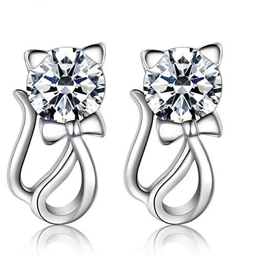 Leuke Sterling zilveren kubieke dier kat Stud oorbellen vrouwen verklaring piercing sieraden