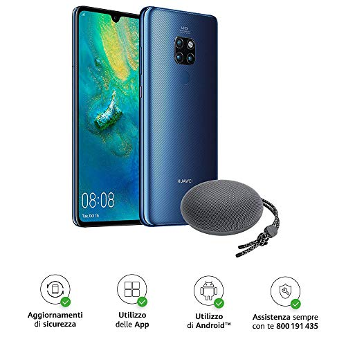 "Huawei Mate 20 (Blue) Smartphone + Speaker Bluetooth, 128 GB+4GB RAM, Display 6.53"" Full HD+, Processore Octa Core dinamico con Intelligenza Artificiale [Versione Italiana]"