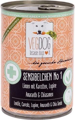 VEGDOG Vegetarisches Hunde Alleinfutter Sensibelchen No 1, 6er Pack (6 x 800 g)