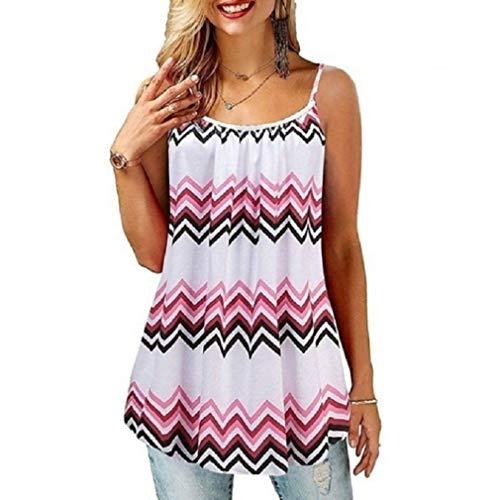 Camiseta de tirantes con estampado para mujer, de verano, sin mangas, informal, cuello redondo, túnica suelta, tallas S-2XL