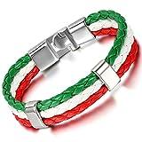 Cupimatch Pulsera Orgullo Gay Hombre Mujer Trenzado Bandera Nacional Italiano Brazalete Arcoiris Regalo para Amor Verdadero Joyería de Moda