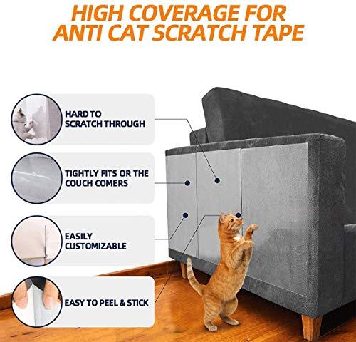 HIQE-FL Protezione Graffi Gatto Divano,Autoadesive Biadesivo AntiGraffio Protector,Copridivano per Gatti,Protezione AntiGraffio per Animali Domestici,Mobili per Gatti