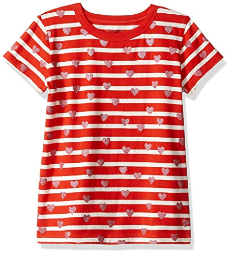 LOOK by Crewcuts - Camiseta de manga corta para niñas con rayas y corazones, Rojo/Rosado, 6-7