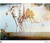 Salvador Dalí - Litografía moderna técnica Pomodoro 38 x 28 cmts press 31 x 23 cmts. ¿Papel empeine Francia (bacinada) titulo Tentacion de san antonio edition 1000 numerada lápiz firmada por pr.?/1000
